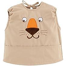 Bebé Niños Niñas Baberos Delantales Blusón Impermeables Sin mangas Con Bolsillo De Pintura y Comer Tema Animal