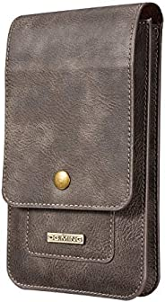PUDINI Leather Holster Pouch Belt Clip Cases Waist Bag Pack for Up to 6.5 Inch Mobile Phone Passport Card Hold