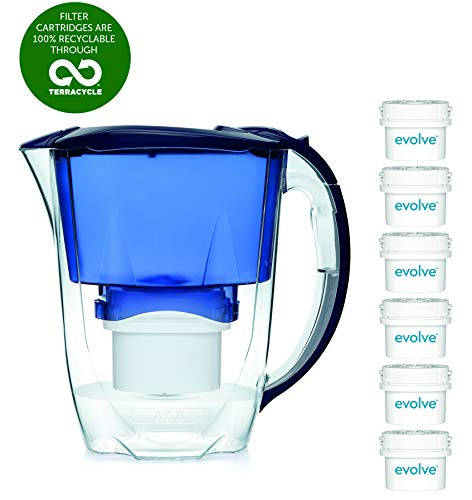 Aqua Optima EJ0659 Oria Water Filter Jug with 6 x 60 Day Evolve Filter-12 Month Annual Pack, Plastique, Blue, 11,7 x 25,3 x 24,9 cm
