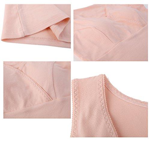 Top de Maternité, KUCI® Femmes D'allaitement Tank Top Camisole Sommeil Soutien-gorge pour l'allaitement Maternel Grey+Soft Orange/2Pack