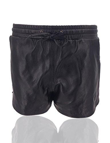 Uilor Echtes Leder Front Reißverschluss Tight Shorts Schwarz