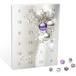 VALIOSA Mode-Schmuck Adventskalender,Merry Christmas' mit Halskette, Armband + 22 individuelle Perlen-Anhänger aus Glas und Metall, lila, das besondere Geschenk für Mädchen und Frauen