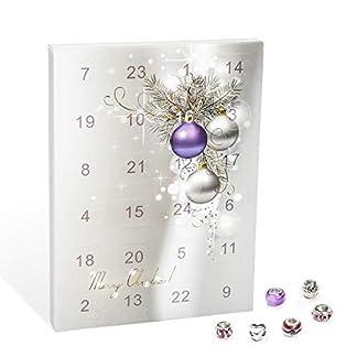 VALIOSA 1000 Calendario de Adviento con Joyería Merry Christmas, 1 pulsera + 1 collar + 22 perlas (1 conjunto, 24 piezas)