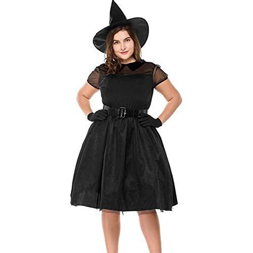 Fette Kostüm Damen Für - QWE Halloween schwarz Garn Hexe große Größe geladen Hexe Kleidung Temperament Hexenspiel Kleidung fette Leute