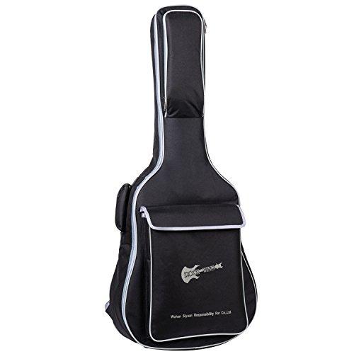 aliyes Class Gitarre Tasche voller Größe Metall Reißverschlüsse Tragetasche 104,1cm wasserabweisend Oxford Stoff 8mm Dicke Schwamm gepolsterte Verstellbarer Gurt Schwarz (Akustik-volle Größe-gitarre)