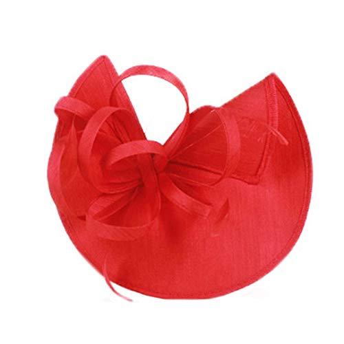 (OLADO Damen-rote Hochzeits-Hüte Pillbox Fascinators Formale Cocktail-Teeparty Derby-Kappe Fedora)