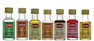 7 x ESSENCE - STRAWBERRY ESSENCE, ORANGE ESSENCE, VANILLA ESSENCE, PINEAPPLE ESSENCE, COCONUT ESSENCE, BANANA ESSENCE, ALMOND ESSENCE EXTRACT LIQUID COOKING FOOD CAKES BAKING FLAVOUR MAY VARY
