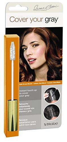 Cover Your Gray Retouche de colorant capillaire pour cheveux gris - Applicateur de type mascara pour racines, rouflaquettes, barbes ou moustaches - Châtain clair/Blond