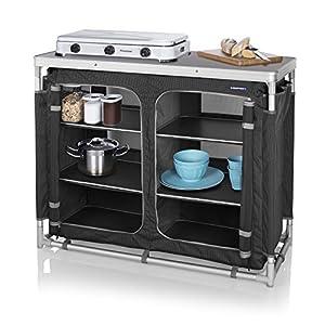 Campart 0734 Outdoor Küche Madrid - Sechs Staufächer - Aufbewahrungstasche inklusive, grau