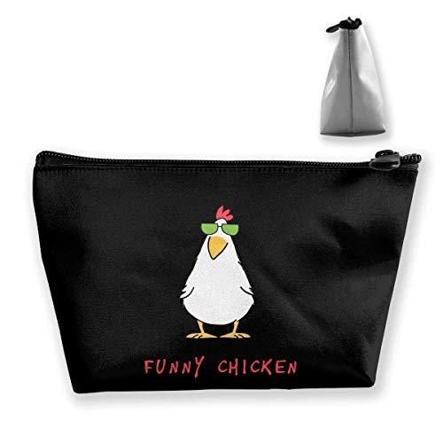 Lustiges Huhn mit Sonnenbrille Kosmetiktaschen Tragbare Reise-Make-up-Beutel-Toilettenartikel-Organisator