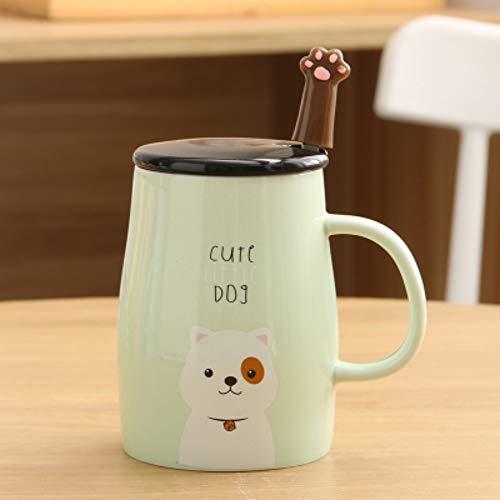 ik Becher Niedlichen Cartoon Paar Wasser Tasse Frühstück Tasse Milch Kaffee Müsli Tasse Mit Löffel, B ()