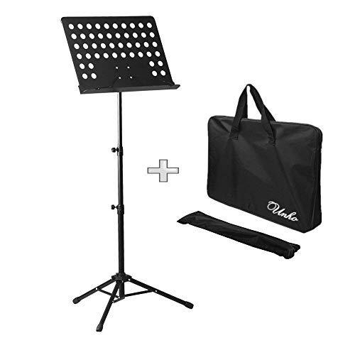 Malayas® Atril de Orquesta, Trípode de Orquesta, Atril para Partitura, Soporte de Orquesta de Musica, Ajustable Altura 80-160cm y Plegable Trípode con Bolsa Negro