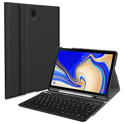 le für Samsung Galaxy Tab S4 T830 / T835 (10.5 Zoll) 2018 Tablet-PC - Ultradünn Schutzhülle mit magnetisch Abnehmbarer drahtloser Deutscher Bluetooth Tastatur, Schwarz ()