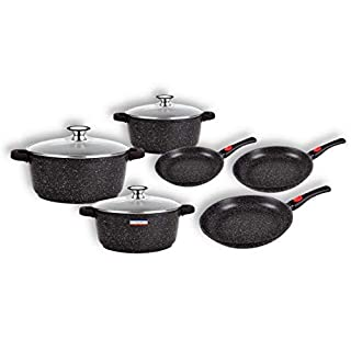 Cflagrant® Stoneware Cookware Set of 15 for All Heat Sources including PFOA-Free Induction and Fat Free Cooking with C3+ Greblon Coating