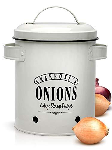Granrosi Zwiebeltopf - geräumiger Behälter im zeitlosen Vintage Design hält Zwiebeln länger frisch