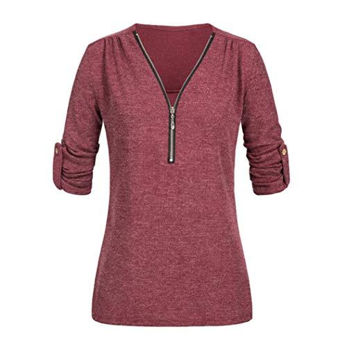 SEWORLD Damen Mode Freizeit Oberteile Bluse Herbst Einzigartig Frauen Strand Damenmode Lässige Tops Shirt Damen V-Ausschnitt Reißverschluss Lose T-Shirt Bluse Tee Top(Z-b-rosa,EU-38/CN-S)