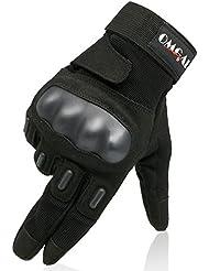 OMGAI Männer Voller Finger Militärische Taktische Handschuhe Des Harten Knöchel Mit Klettverschluss Für Airsoft Armee Paintball Motorrad Outdoor Sport Schwarz L