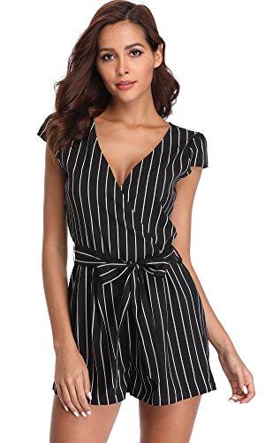Miss Moly Jumpsuit kurz mit Streifen – schwarz/weiß