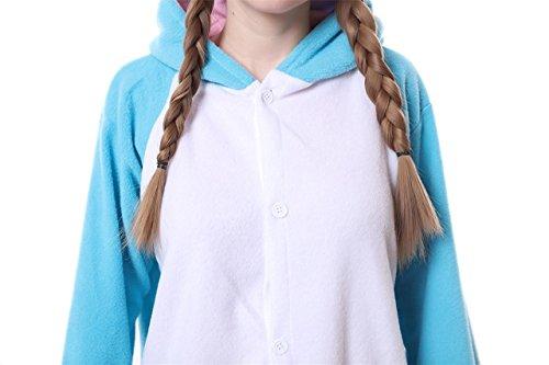 Pigiama a tuta intera invernale, in flanella, unisex, per adulti, blu Narwhal