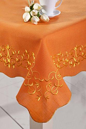 85X 85Arancione Gold tovaglia tovaglia con arabeschi, forma di facile manutenzione praticamente Primavera (Facile Primavera)