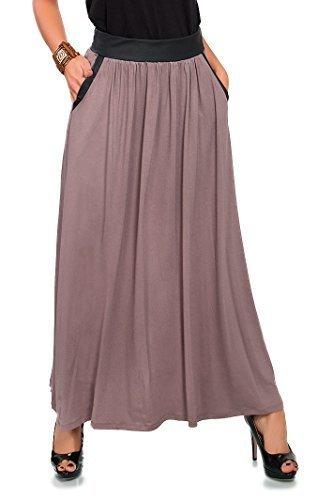 Futuro Fashion Femmes Longue Jupe Avec Poches ligne-A Maxi Jupe Tzigane Tailles 8-18 8373 Cappuccino