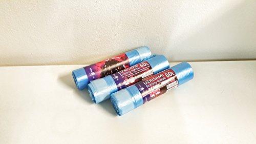 Sacchi per Spazzatura, 50-60 L, Blu, da 30 Sacchetti, Sacchetti per la spazzatura ultra resistenti, con maniglie scorrevoli a