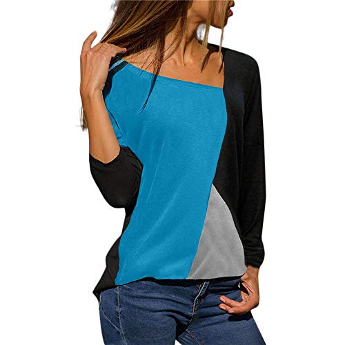 ESAILQ Mode Frauen Patchwork Farbe Block O-Neck Long Top (M, Himmelblau)