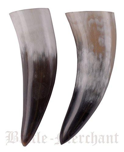 Battle-Merchant Trinkhorn aus echtem Horn ca. 250ml - Methorn Drinking horn Mead für Mittelalter, Wikinger und LARP