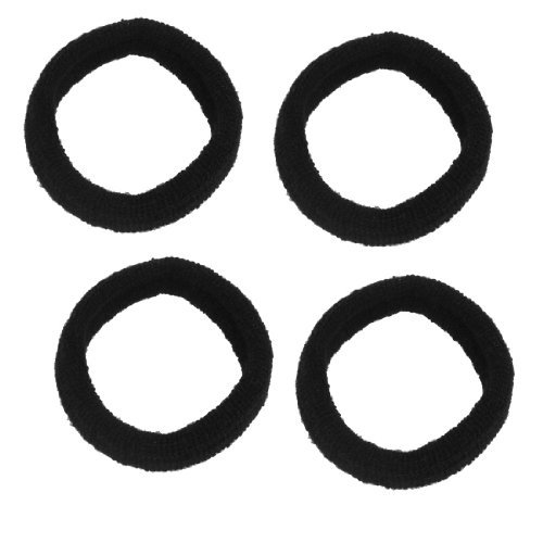 UXCELL 4 Pcs Solid Black Elastic Ring Hair Band Tie Ponytail Holder