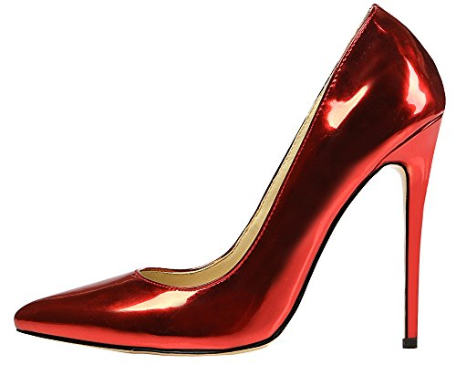 MONICOCO Übergröße Damen High Heels Mirror Pointed-Toe Pumps Rot