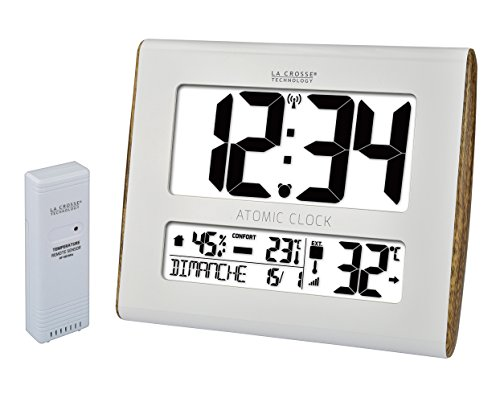 La Crosse Technology WS8020WH-WOOD Wanduhr mit Temperaturanzeige