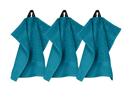 Frottiertücher der Serie Opal - erhältlich in 33 modernen Farben und 7 verschiedenen Größen -Markenqualität von Dyckhoff, 1 Pack (3 Stück) - Seiftücher [30 x 30 cm], petrol