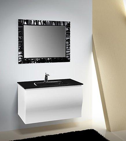 Arredobagnoecucine Meuble Salle de Bain Suspendu Moderne Fiji laqué Blanc Brillant, Mesure cm 93