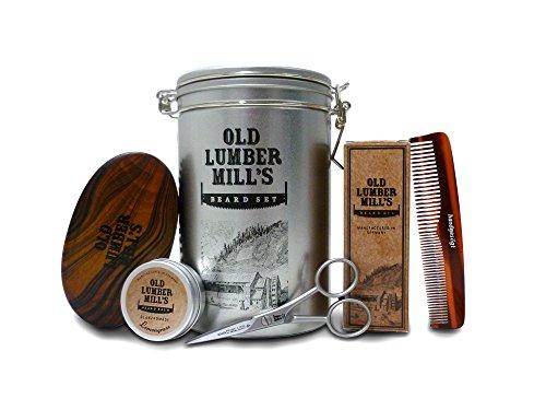 Ausgewähltes Old Lumber Mill's Bartpflege Set in silberner Blechdose - inklusive Old Lumber Mill's Bartöl, Bartbalsam, Bartbürste, Taschenkamm und Bartschere | Macht jeden Bartträger glücklich - das ideale Geschenk