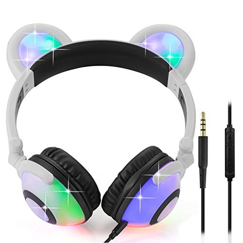 Wired Bear Ear Headphones with Glowing Lights and Mic (White) 41MW5chaDkL