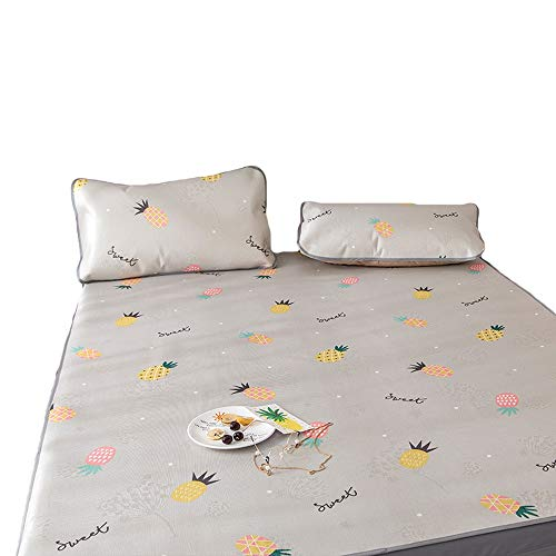 ZHQHHX Bettlaken Set Sommer Bedding Bettlaken Mat Sets - Queen-Size-Breathable Kühl Ice Silk Schlafenauflage Matratzenauflage (Color : Grau, Size : 0.9m) -