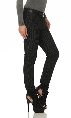 Fashion4Young Damen Hose Treggings Business Damenhose Streifen,Karo o. Punkte m. Gürtel Pants gestreift-schwarz