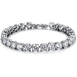 Yellow Chimes Crystals from Swarovski Royal White Diamond Crystal Silver Bracelet for Women & Girls