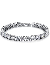 Yellow Chimes High Grade Crystals Royal White Diamond Crystal Silver Bracelet for Women & Girls