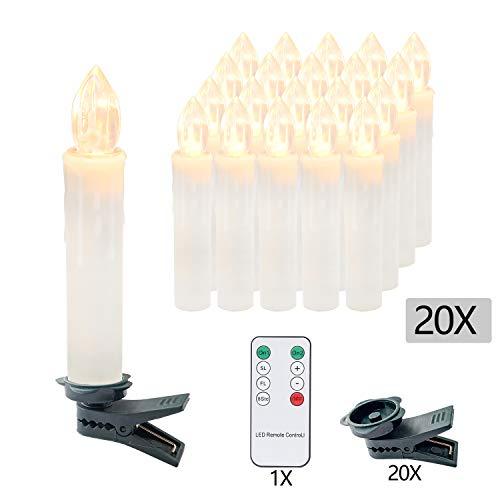 VINGO 20er LED Weihnachtskerzen mit Fernbedienung Kabellos Warmweiß Kerzen Dimmbar Christbaumkerzen für Weihnachtsbaum,Christbaumsdeko