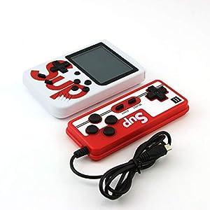 Retro Hand Classic Game-Konsole mit 400 Classical FC Spiele 2,8-Zoll-Farbbildschirm Unterstützung, für das Anschließen von TV-Zwei-Spieler, tragbare Videospielkonsole,Schwarz