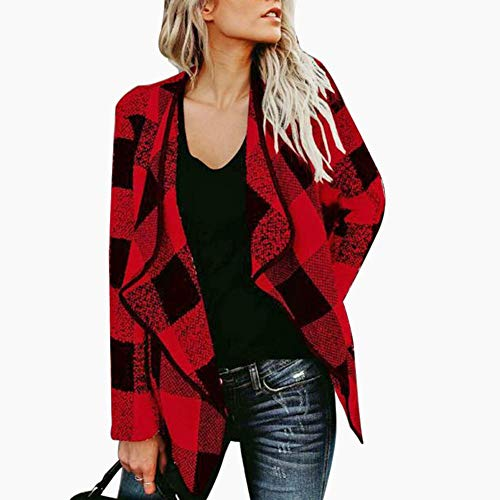 Occitop Plaid Irregular Cardigan Tops Lapel Woolen Coats Women Outwear (Red XL) Womens Top Coat