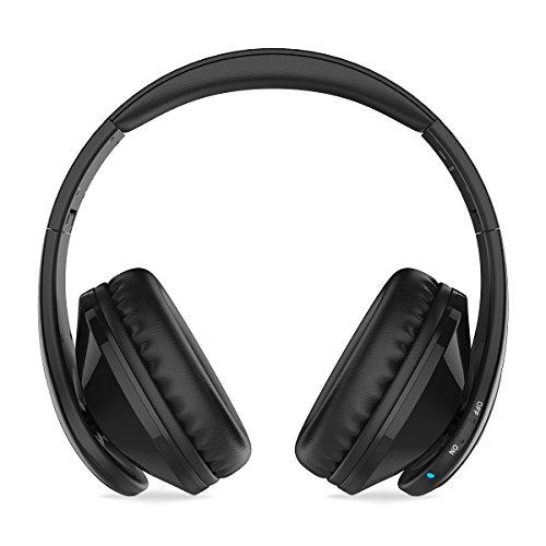 Picun P7 auriculares inalámbricos Bluetooth ligero auriculares plegables en la oreja Bluetooth V4.0 con fuerte micrófono de bajos Radio FM para iPhone Sony y otros dispositivos con Bluetooth Negro