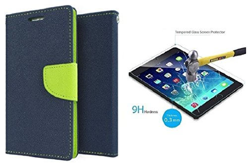 SONY XPERIA M Flip Cover Mercury Back Case (Blue Green) With Temper Glass Screen Protector By Efinetrick  available at amazon for Rs.329