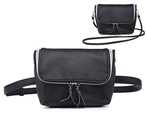 Schulter Klappe Tasche (Frau Reißverschluss Klappe Umhängetasche Schulter 68,5cm Tasche Fashion Fanny Pack 2in 1Bag Travel Bag Fashion und Süßem, Schwarz)