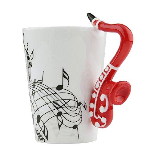 Neuheit Kunst Keramik Becher Tasse Musikinstrument Hinweis Stil Kaffee Milch Tasse Weihnachtsgeschenk Home Office Drinkware (Green Electric Violin)