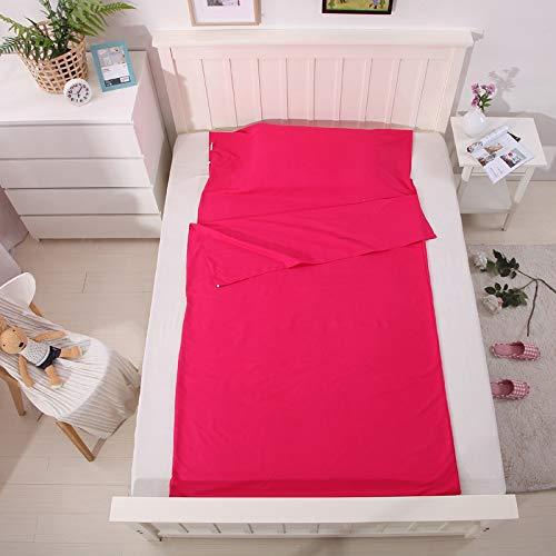 XILIUHU Double/Single Person Hotel Vier Jahreszeiten im Freien tragbare Baumwolle nach Falten Sanitär Schlafsack Bettwäsche Kissenbezug, Rose, W 75 cm, L 210 cm. - Wilson Decke