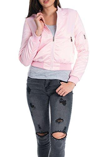 Kendindza Premium Damen Bomberjacke Steppjacke Bikerjacke Kurz Jacke 2811 - 2