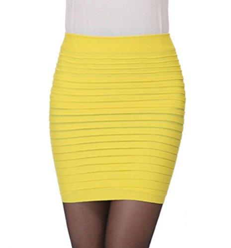 Rcool Damen 1pc Casual Womens Baumwolle gemischt Röcke elastische Plissee hohe Taille Paket Hüfte Röckchen (Gelb)