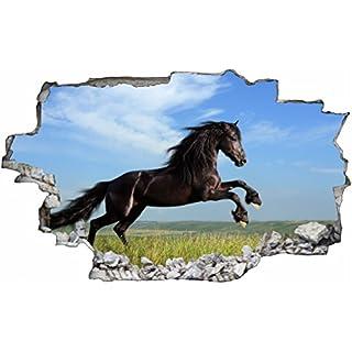 DesFoli Pferd Horse 3D Look Wandtattoo 70 X 115 Cm Wanddurchbruch Wandbild  Sticker Aufkleber C472